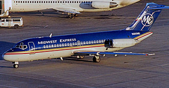 Douglas DC-9 Series 15 of Midwest Express arriving at Toronto Pearson Airport in 1999 Douglas DC-9-15 N300ME Midwest Expr TOR 21.09.99R edited-5.jpg