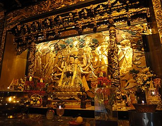 Chinese gods and immortals - Main altar and statue of Doumu inside the Temple of Doumu in Butterworth, Penang, Malaysia.