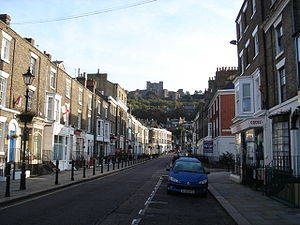 Dover - Dover Castle seen from Castle Street.