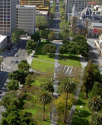 Plaza de César Chávez - The Plaza de César Chávez with St. Joseph's Cathedral-Basilica in the background.