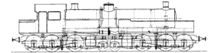 Du Bousquet locomotive - Line drawing of the locomotive design.