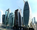 Dubai - from left, The Bay Gate - One Business Bay - The Prism Tower - The Regal Tower - silent unknown tower - Iris Bay - من اليسار, بوابة الخليج - panoramio.jpg