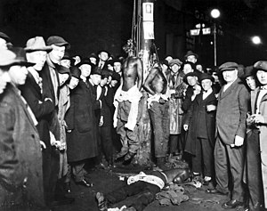 Hate crime - Postcard of the Duluth lynchings of African-American men on June 15, 1920