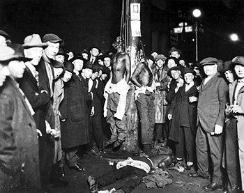 A postcard of a Duluth lynchings, June 15, 1920
