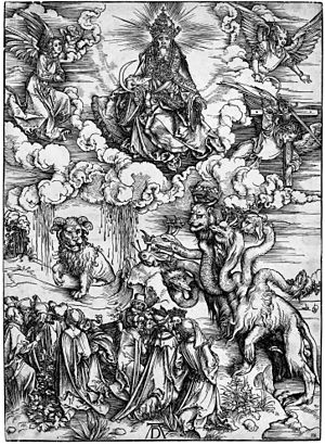 The Beast (Revelation) - The Revelation of St John: 12. The Sea Monster and the Beast with the Lamb's Horn. A woodcut by Albrecht Dürer