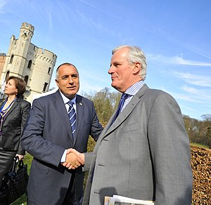 Michel Barnier - Michel Barnier and Boyko Borisov at the 2011 EPP summit at Bouchout Castle, Meise