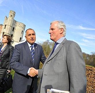 Michel Barnier - Michel Barnier and Boyko Borisov at the 2011 EPP summit at Bouchout Castle, Meise