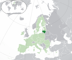 Location of  Lithuania  (dark green)– on the European continent  (green & dark grey)– in the European Union  (green)  —  [Legend]