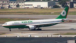 EVA Air B-16308 at Songshan Airport Apron 20120205b.jpg