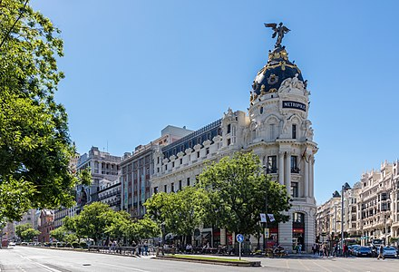View of the Metropolis Building, an office building located in the center of Madrid, Spain.
