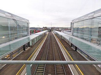Edinburgh Gateway station - Edinburgh Gateway station, view south from the pedestrian over-bridge