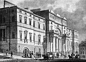 Old College, University of Edinburgh - The east facade of the University of Edinburgh facing onto South Bridge / Nicholson Street, as built in 1827. A dome similar to Adam's original design was added in 1887.