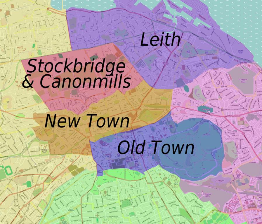 Carte des quartiers d'Edimbourg - Image de Peter Fitzgerald