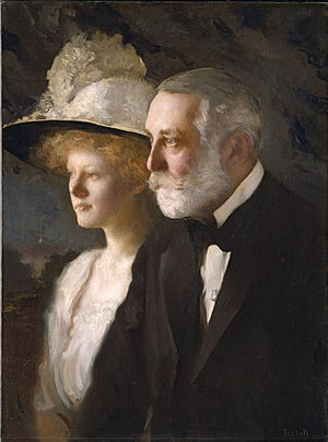 Henry Clay Frick House - Henry Clay and his youngest daughter Helen Frick, who lived in the house (painting by Edmund Charles Tarbell, c. 1910)