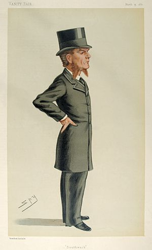 "Edward Clarke (barrister) - ""Southwark"". Caricature by Spy published in Vanity Fair in 1880."