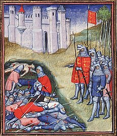 A colourful late-Medieval depiction of Edward III counting the dead after the battle