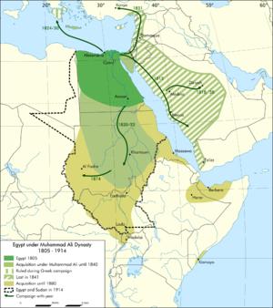 緑と薄緑がムハンマド・アリー朝の版図、黄緑、斜線部分が一時的な占領地 ... ムハンマド・アリー