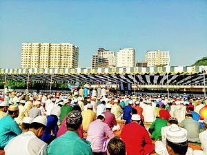 Islam in Bangladesh - An urban congregation for Eid-ul-Adha prayers in Dhaka.