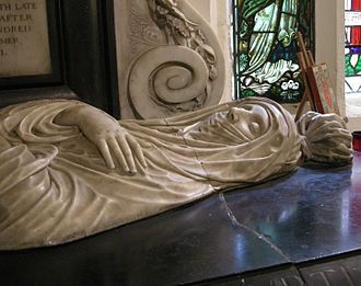 Cranford, London - Tomb effigy of Elizabeth, Lady Berkeley (d. 1635) by Nicholas Stone