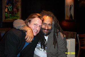 Ellis Paul - Paul (left) with good friend and fellow musician Vance Gilbert in Houston, Texas. (November 8, 2003) Paul's title track from Translucent Soul speaks of their friendship and deals with the issue of racism.