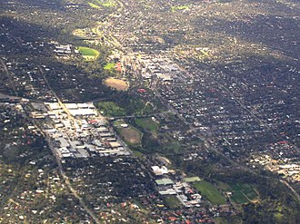 Eltham, Victoria - Aerial photo of Eltham from the south-east
