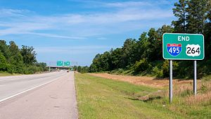 Interstate 87 (North Carolina) - Image: End I 495 & US 264 Raleigh