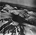 Endicott River and Chilkat Mountains, snow covered mountain peaks, September 12, 1973 (GLACIERS 5421).jpg