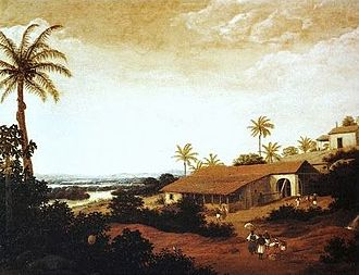 Colonial Brazil - View of a sugar-producing farm (engenho) in colonial Pernambuco by Dutch painter Frans Post (17th century).
