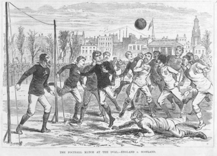 In April 1879, England beat Scotland 5-4 at The Oval England v Scotland 1879.png