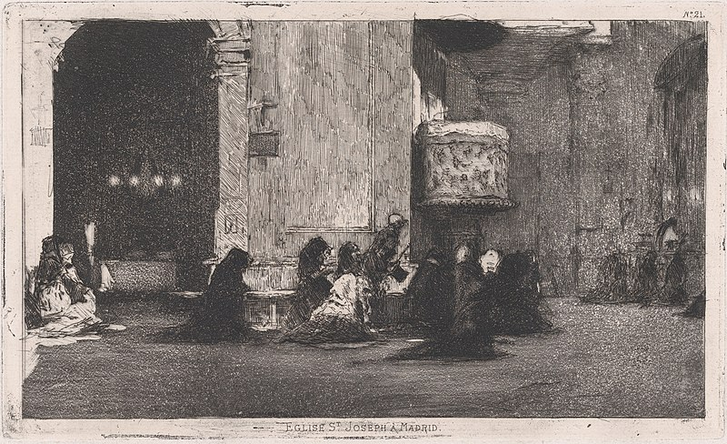File:Entrance to the church of St Joseph (San José), Madrid, figures seated on the ground in front MET DP876135.jpg