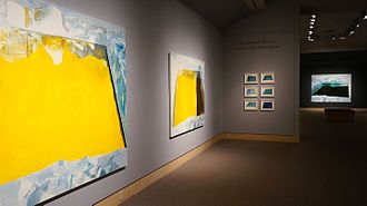 """Eric Aho - Eric Aho's """"Ice Cuts"""" series of paintings installed at the Hood Museum of Art, Dartmouth (2016). Photo by Alison Palizzolo."""
