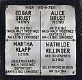 Erinnerungsstein für Edgar und Alice Brust, Martha Klapp, Mathilde Killinger.jpg