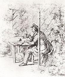Jean Paul dichtet in seiner Gartenlaube (Zeichnung von Ernst Förster) (Quelle: Wikimedia)