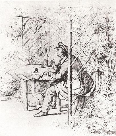 Жан Поль работает в своей беседке (рисунок Э. И. Фёрстера)