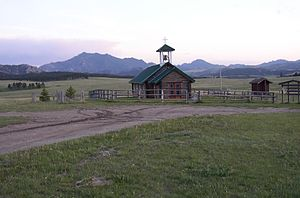 Esterbrook, Wyoming - Esterbrook Church and Laramie Peak in the background