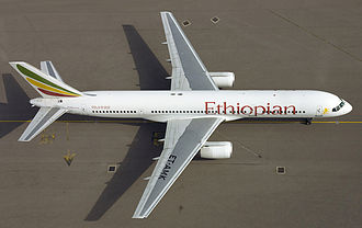 Boeing 757 - Bird's eye view of Ethiopian Airlines 757-200 ET-AMK at London Heathrow Airport