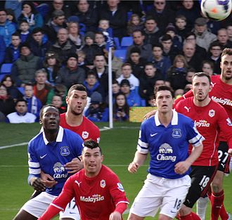 Steven Caulker - Caulker (red, furthest left) playing for Cardiff City in 2014