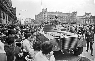 Zócalo - Protesters and Mexican army during 1968 protests.