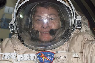 Peggy Whitson - Peggy Whitson in the course of preparing for spacewalk from ISS during Expedition 5