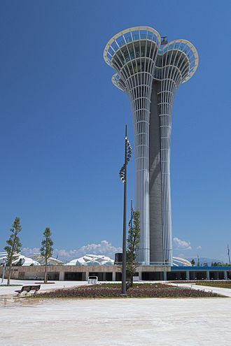 Expo 2016 - Expo Square in the foreground and Turkcell Expo Tower in the background.