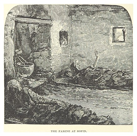 A depiction of the Great Famine from Our Boys in Ireland by Henry Willard French (1891) FRENCH(1891) p118 THE FAMINE AT BOFIN.jpg