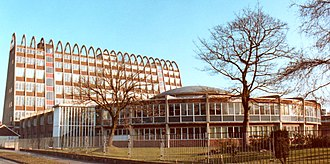 Fallowfield - Fallowfield Campus, Manchester Metropolitan University in 1985 (the main building is known as the Toastrack building)