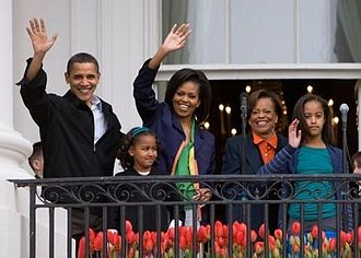 Family of Barack Obama - Marian Robinson (second from right) makes an appearance with the rest of the immediate family of Barack Obama on the South Portico of the White House during festivities of the 2009 White House Easter Egg Roll