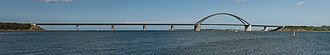 Fehmarn Sound Bridge - Panoramic image of the bridge as seen from southeast