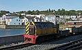 Ffestiniog Railway diesel locomotive Moel Hebog at Porthmadog Harbour railway station (22665763991).jpg