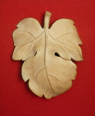Fig leaf - A fig leaf cast in plaster used to cover the genitals of a copy of a statue of David in the Cast Courts of the Victoria and Albert Museum. In the reign of Queen Victoria, display of male nudity was contentious and the Queen herself was said to find it shocking. The museum commissioned this fig leaf and kept it in readiness in case of a visit by the Queen or other female dignitaries: the fig leaf was then hung on the figure using a pair of hooks. Today, the fig leaf is no longer used, but it is displayed in a case at the back of the cast's plinth.