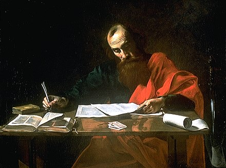 Saint Paul Writing His Epistles, 17th-century painting. Most scholars think Paul actually dictated his letters to a secretary. PaulT.jpg