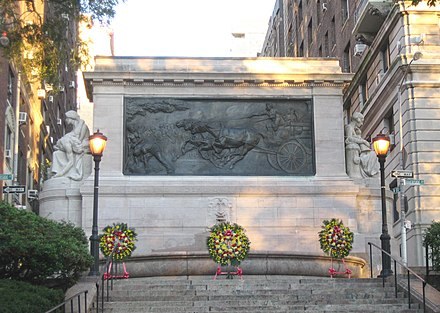 The Firemen's Memorial, a monument to the heroes of the Fire Department in Manhattan Fire Dpt monument 100 RSD jeh.JPG