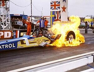 Burnout (vehicle) - Fire burnout, Santa Pod Raceway, UK