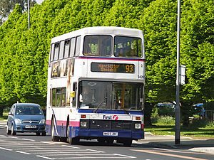 First Greater Manchester - Northern Counties Palatine bodied Volvo Olympian on route 93 in Bury in May 2008
